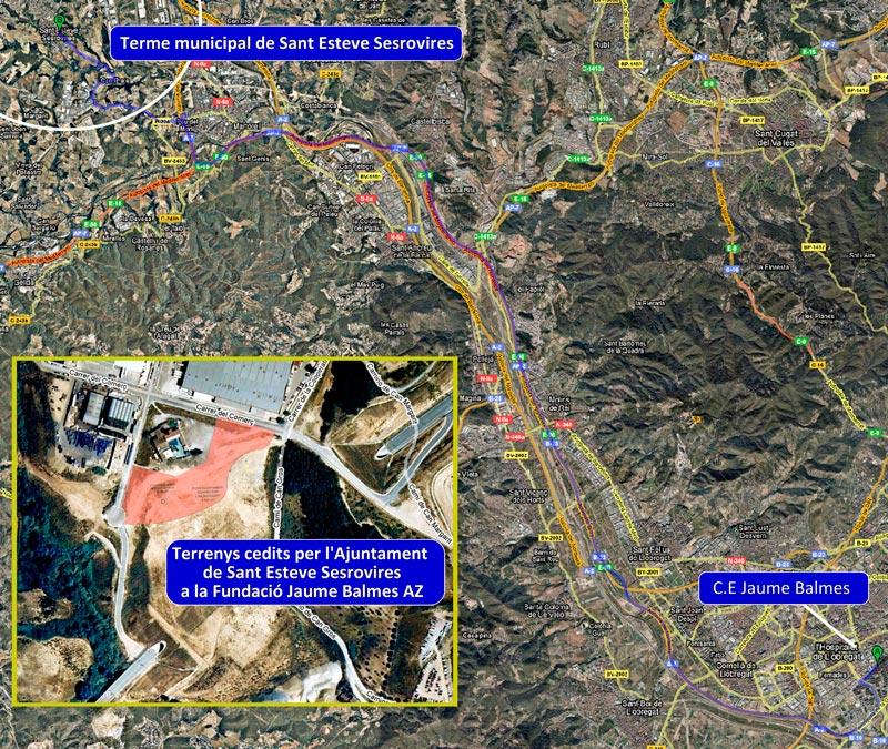 Mapa de situació dels terrenys, ubicats a uns 25 km. de L'Hospitalet de Llobregat.